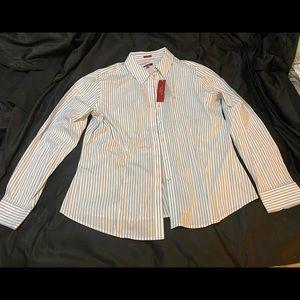 Talbots striped wrinkle resistant dress shirt